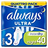 Always Ultra Night Sanitary Towels with Wings 40 Pads Super Absorbent, Neutralises Odours, Ultra Thin, Size 3