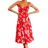 MRULIC Ladies Boho Kleid Backless Lange Kleider Summer Beach Dress Strandkleid(D-Rot,EU-38/CN-M)