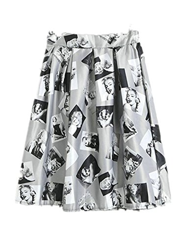 Ecollection Damen Retro vintage Audrey Hepburn 50er Jahre Rockabilly Rock Bubble Skirt Mehrfarbig - Fsk28