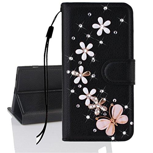 Xifanzi Brieftasche PU Ledertasche Hülle für Galaxy A7(2017) Handschlaufe Schutzhülle Schwarzes Ledertasche Kranz Schmetterling Muster Bookstyle Lederhülle Schützend Handytaschen