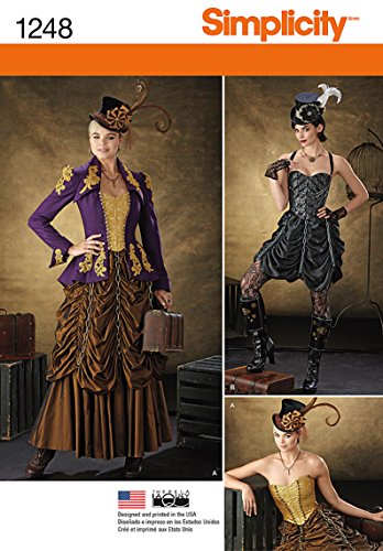 Simplicity 1248 Size HH Misses Steampunk Costumes Sewing Pattern, Multi-Colour steampunk buy now online