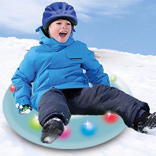 Neuf gonflable Snow Tube avec flash LED Lumières épais Porter seul Luge Snowboard Ski patinage de tube pour Outdoor Sports d'hiver pour adultes et enfants Bleu