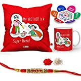 """Indigifts Rakhi Gifts For Brother Super Hero Is Bro Quote Printed Gift Set Of Cus 12""""x12"""" With Filler, Mug 330 Ml, Crystal Rakhi For Brother, Roli, Chawal & Greeting Card - Rakshabandhan Gifts For Brother, Rakhi For Brother With Gifts, Raksh"""