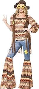 Smiffys Déguisement Femme, Hippie harmonie, avec haut, pantalon à pattes d'éléphant et gilet, Taille 48-50, 43856