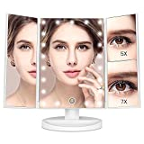 MayBeau Lighted Makeup Mirror 1X/5X/7X Magnification Trifold Vanity Mirror with 21 LED lights 180°Rotation light up mirror Touch Screen Countertop Cosmetic Mirror