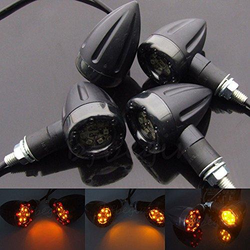 Gazechimp 4x Universal Motorrad LED Leuchten Gelbe Lampe Hintere Bremse Blinker Signallicht Mini-Blinker Spiegel Seitenspiegel