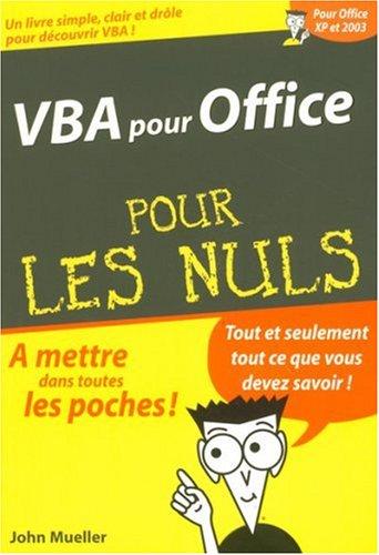 VBA pour office, pour les Nuls