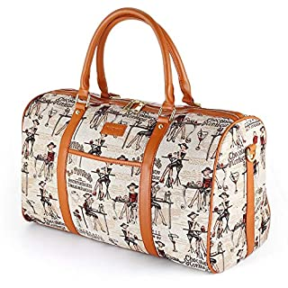 Women Holdall Weekend Bag, AIZBO Oversized Canvas Duffel Bag PU Leather Trim Carry on Shoulder Tote Bag Travel Overnight Bag for Ladies