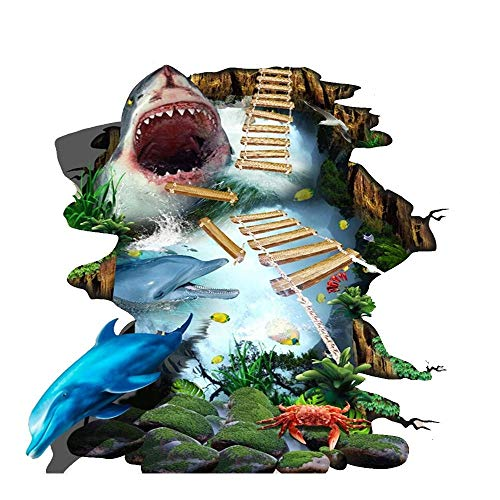 Vitila Kreative Rutschfeste Aufkleber Dekoration Wohnzimmer Schlafzimmer Bad Persönlichkeit 3D Wandaufkleber Großen Hai Selbstklebende Poster Pvc Abnehmbare Tapete