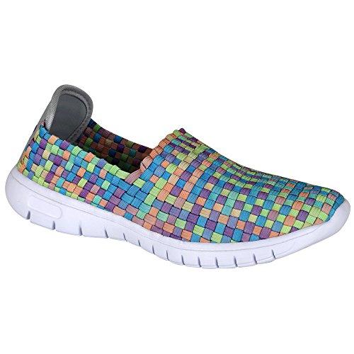 Laufschuhe - Turnschuhe - Schuhe - Slipper - Damen mit Farb- und Größenauswahl Grün/Blau