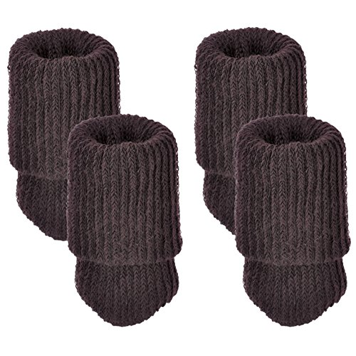 Mogoko 4 x Stuhlbeinsocke Möbel Socken Wollsocken Hocker Fessel Tabellen Cotton Caps Anti-Rutsch Fußboden Schutz Stuhl Bein Floor Protector Nordischen Stil (Braun) -