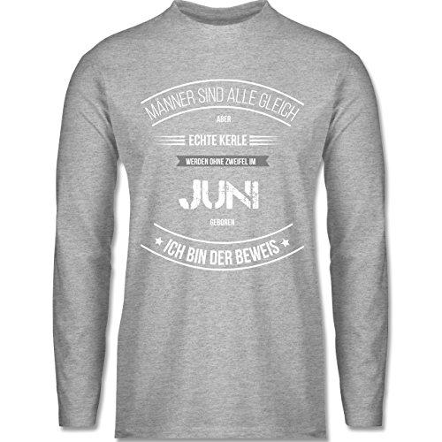 Shirtracer Geburtstag - Echte Kerle Werden IM Juni Geboren - Herren Langarmshirt Grau Meliert