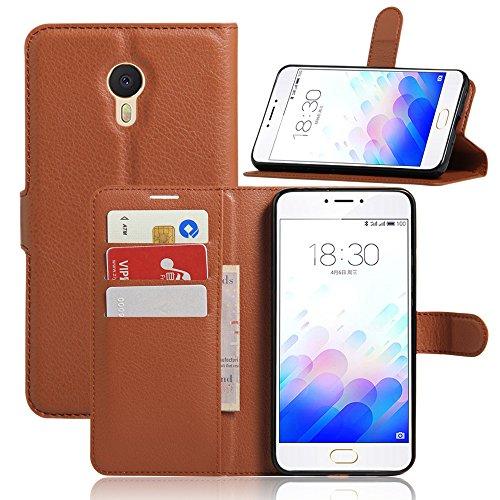 Kihying Hülle für Meizu M3 Note/Note 3 Hülle Schutzhülle PU Leder Flip Wallet Fashion Geschäft HandyHülle (Brown - JFC01)
