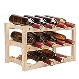 QIANGZI Kiefernholz-Weinregale 12 Flaschen-Speicherregal Freie Stehende 3 Reihenhauswares Für Speisekammer-hölzerne Farbe 46 × 26 × 28cm