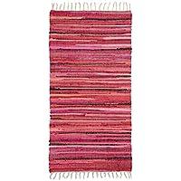 Relaxdays–Alfombra con flecos tejida mano multicolor rojo estilo indio 70x 140cm alfombra de pasillo entrada suelo Piso (poliéster y algodón, rojo