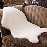 Crazy lin Flauschige Kunstpelz Schaffell Teppich, Sofa Teppich Matte, Stuhl Sitzbezug Pad, Kinderzimmer Wohnzimmer Schlafzimmer Dekoration Decke(White,75x120CM)