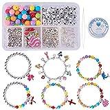 SUNNYCLUE 1 Set 240 + Pcs Perlé Charme Bracelet Artisanat Kits pour Enfants Adultes Enfants Bricolage Bijoux...