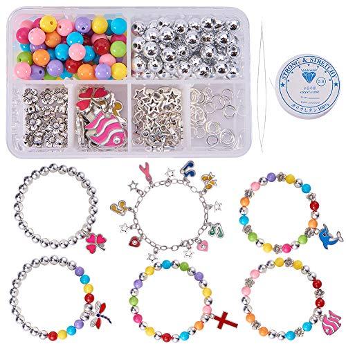 SUNNYCLUE 1 Set 240 + Stück Perlen Charm Armband Craft Kits für Kinder Erwachsene Kinder DIY Schmuck Machen zu entwerfen und zu tragen - Make 6 Bettelarmband