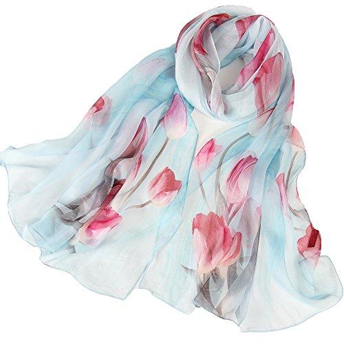 LD Seidenschal Damen 100% Seiden Schal Elegante Seidentuch Hautfreundlich Anti-Allergie Halstuch 175 * 65cm (Blau) MEHRWEG