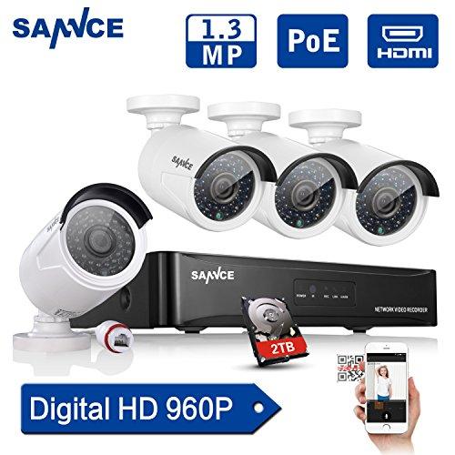 SANNCE-Kit-de-4-Cmaras-de-Vigilancia-Seguridad-Onvif-H264-CCTV-DVR-P2P-4CH-AHD-960P-y-4-Cmaras-960P-13MP-IP66-Impermeable-IR-Cut-Visin-Nocturna-Hasta-20M-Exterior-y-Interior-HDMI-24-LEDs-Seguridad-Kit