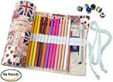 CreooGo Canvas Pencil Wrap, Pencils Roll Case Pouch Hold For 72 Colouring Pencils ( Pencils are not included )-UK Style,72 Holes