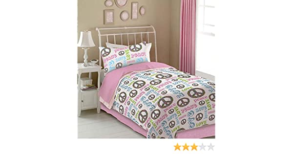 Queen Size Graphite Veratex Peace and Love Bedding Collection Modern Graphic Kids Bedroom 4-Piece Comforter Set