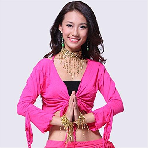 Women Sexy Dance Tops Bauchtanz Costume Leafroll Sleeve Bandage Top Dancewear Bauchtanz Tops Dark Pink