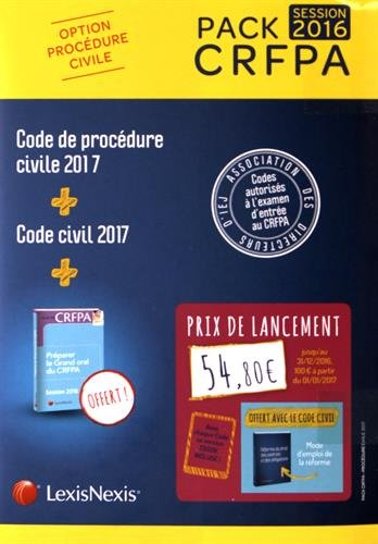 Pack CRFPA civil: code civil 2017 + code de procédure civile 2017 + prime oral CRFPA: Avec chaque Code sa version Ebook incluse.