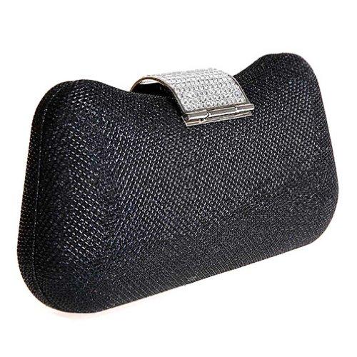 KAXIDY Damen Clutch Abendtasche mit Elegant Funkelndem Kristall Diamant Schwarz