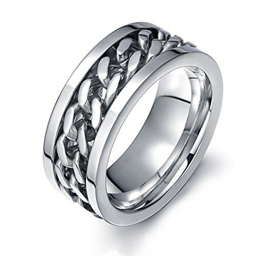 Vnox Edelstahl Verbindungsstück Ketten Ring für Mann Hochzeits Band Verpflichtungs Versprechungs Silber,hohes Polier,Größe 69 (22.0) - Hochzeit Männer Silber Ring