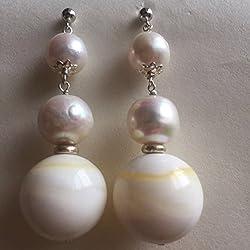 Pendientes/pendientes medievales grandes de perlas grandes y redondas