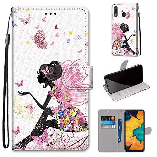 Miagon Flip PU Leder Schutzhülle für Samsung Galaxy A20e,Bunt Muster Hülle Brieftasche Case Cover Ständer mit Kartenfächer Trageschlaufe,Schmetterling Mädchen