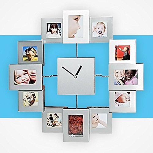 Orologio a parete in alluminio da personalizzare con 12 foto formato: 4...