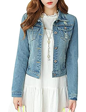 Manica Lunga Giacca di Jeans Denim Jacket Vintage di Stile Boyfriend Oversize Casuale per Donna