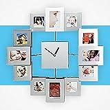 Reloj pared con 12 marcos de foto en aluminio