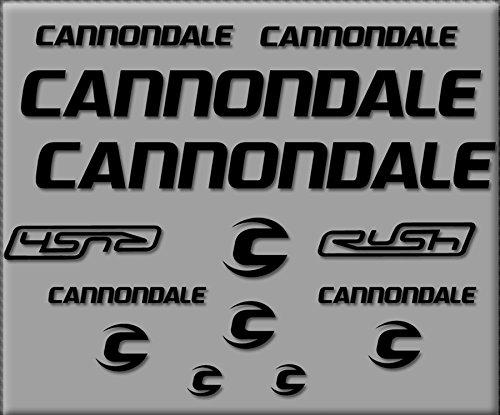 Ecoshirt HC-LSPK-DLSV Aufkleber Cannondale Rush R307 Stickers Aufkleber Decals Autocollants Adesivi, schwarz -