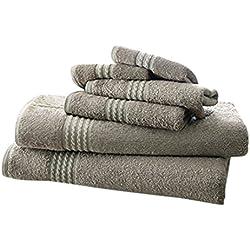 Costa del Pacífico Textiles Juego de Toallas de bambú, Mezcla de algodón, Gris, Single, Juego de 6