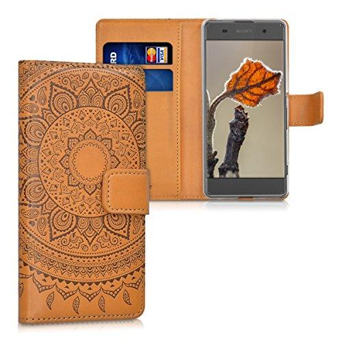 kwmobile Wallet Case Kunstlederhülle für > Sony Xperia XA < - Cover Flip Tasche in Indische Sonne Design mit Kartenfach und Ständerfunktion in Dunkelbraun Hellbraun