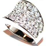 Sparkly Spectacular 16mm Wide Encrusted Pave Ring. 1.20ct Lab Created Flawless Diamonds. Rhodium Bonded. Outstanding Quality Designer Band. A Must Have Style!