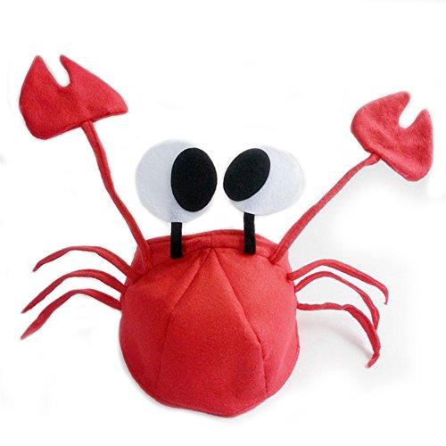 Baby Krabbe Kostüm - Rote Krabbenhut, Party-Kostüm, verstellbar, passt für Kinder und Erwachsene, Vlies, süße Kappe, Rot