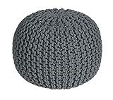 Homescapes Sitzhocker rund see grau 40 x 35 cm, Sitzkissen Strick Pouf Bodenkissen, grob gestrickter Bezug aus 100% Baumwolle, Füllung aus 100% Polystyrol