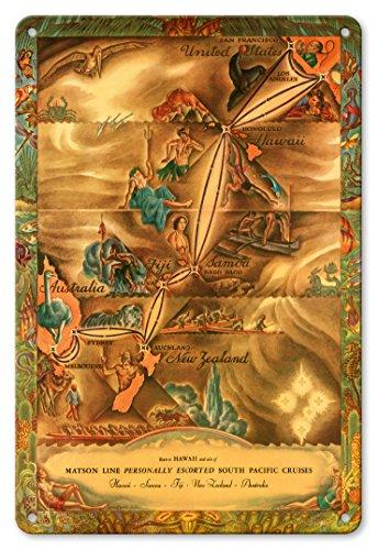 Pacifica Island Art 22cm x 30cm Vintage Metallschild - Routenkarte Südpazifik - Hawaii, Samoa, Fidschi, Australien, Neuseeland - Matson Linie - Vintage Retro Landkarte von Ernest Hamlin Baker c.1935