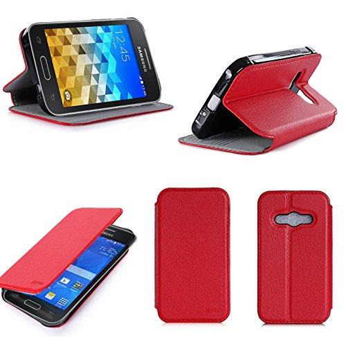 Rosso Custodia Pelle Ultra Slim per Samsung Galaxy Trend 2 Lite Smartphone - Flip Case Funda Cover Protettiva Samsung Galaxy Trend 2 Lite (PU Pelle - Red) - XEPTIO Accessori