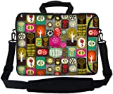 """15 15.6 inch Neoprene Laptop Carrying Bag Sleeve Case w. Accessories Pocket, Soft Carrying Handle & Removable Shoulder Strap Fits 15"""" 15.6"""" or Smaller Size Laptop - Colorful Life Design"""
