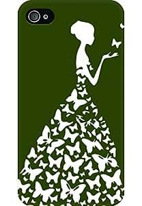 AMEZ designer printed 3d premium high quality back case cover for Apple iPhone 4 (dark green white girl princess)