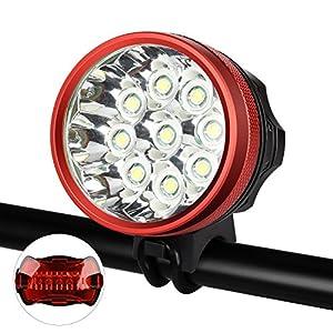 GHB Luces Delanteras Bicicleta LED Headlight Linternas Frontales Recargables 18000LM 9 x CREE XML T6 Lámpara de Bicicleta Focos Frontales con Batería y Cargador