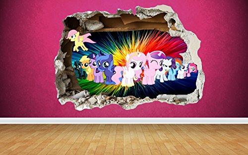 nd-Aufkleber Wanddurchbruch-Design für Kinder-Schlafzimmer Vinyl, Small: 50cm x 36cm (My Little Pony-wiederverwendbare Aufkleber)