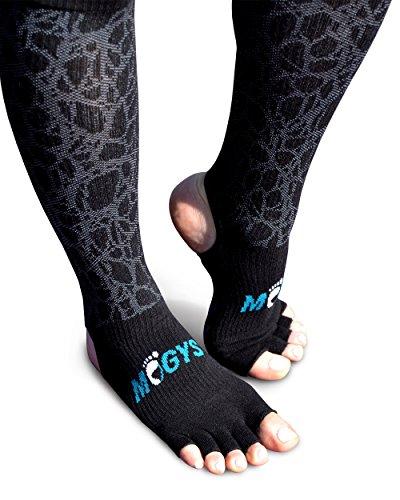 mogys Yoga & Pilates-Socken mit Anti-Rutsch & Kompressionsfunktion - Zehenfrei - Rutschfest - Schwarz/für Damen und Herren (S/M (36-40))