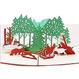 3D Karte Dreidimensional Weihnachten Karte Pop Up Weihnachtskarte Geburtstagskarte Faltbar Gedenktagskarte Hochzeitseinladung Party Postkarte GrußKarten Glückwunschskarten Card