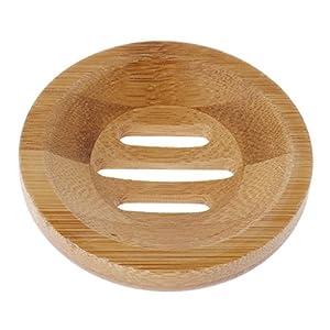 Lunji – Jabonera de madera natural, soporte de almacenamiento de jabón de baño redondo